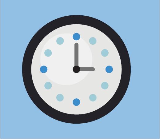 A cartoon rendering of a clock.