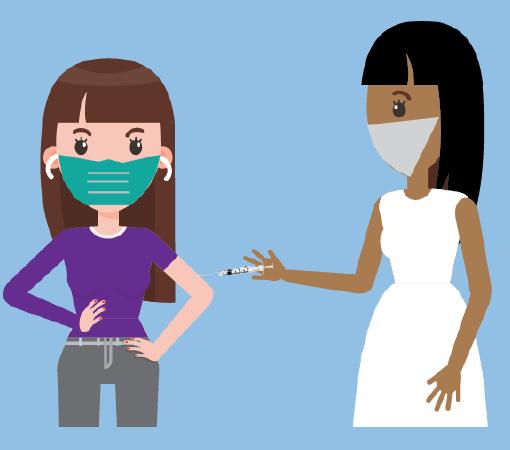 A woman wearing a mask receiving a shot from a nurse.