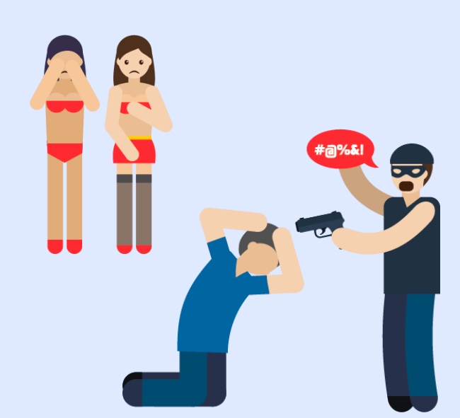 A woman standing in her underwear pictured with a man holding a gun near another man's head.