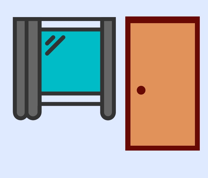 A cartoon rendering of a window and door.